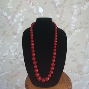 Talbots Red Beaded Necklace